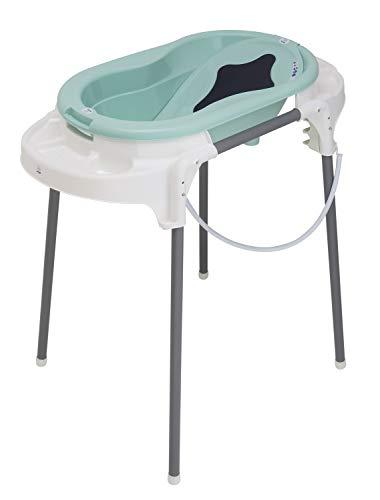 Rotho Babydesign TOP Station de Bain, Avec Baignoire pour Bébé, Support de Baignoire, Dossier de Baignoire et Tuyau de Vidange, 0-12 Mois, Swedish Green, 21042 0266 01