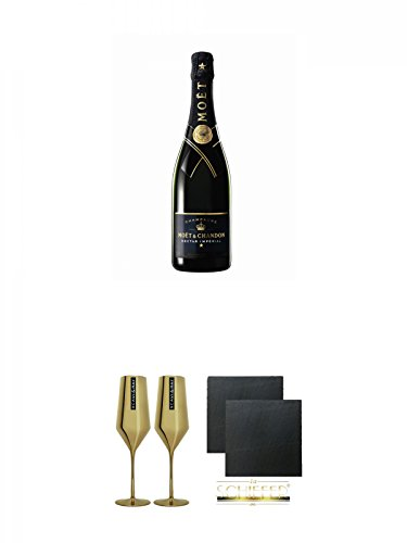 Moet Chandon Nectar Imperial Champagner 0,75 Liter + Scavi & Ray Momento d'Oro Prosecco Gold Glas 0,1L 2 Stück + Schiefer Glasuntersetzer eckig ca. 9,5 cm Ø 2 Stück