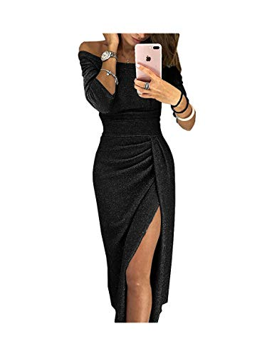 abito donna nero lungo iMixCity Abito da Donna Senza Spalline Abito da Cocktail Lucente Abito da Max 3/4 Maniche (L:40/42