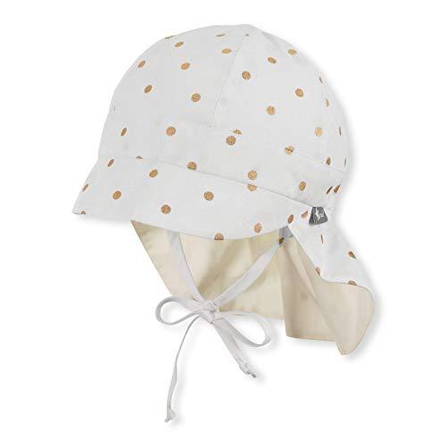 Sterntaler Baby-Mädchen Schirmmütze Bindebändern, Nackenschutz und Pünktchenmuster Mütze, Beige (Ecru 908), (Herstellergröße: 43)