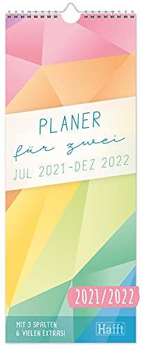Planer für Zwei 2021/2022 Paarkalender mit 3 Spalten [Rainbow] Wandkalender für 18 Monate: Jul 21 - Dez 22 | Paarplaner Wandplaner, Chäff-Timer inkl. Ferientermine | klimaneutral & nachhaltig