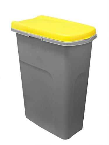 BigDean Mülleimer-System schmal & verbindbar - 25L Abfalleimer für Mülltrennung - grau/gelb - mit Klappdeckel - Müll-System Abfallsystem Mülltrennsystem - für Küche, Zimmer & Draußen