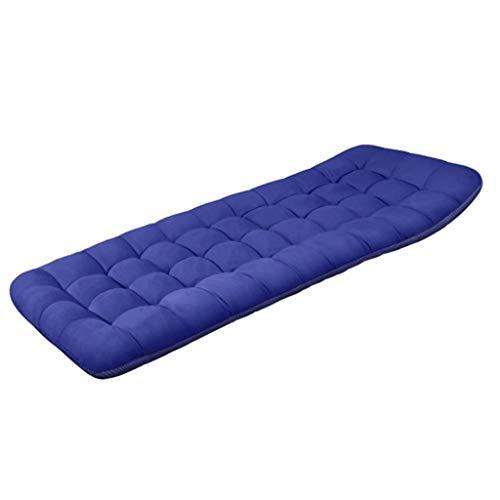 LLLD Colchón plegable de algodón para tumbonas gruesas doble uso portátil colchoneta enrollable para camping para el hogar viajes vacaciones cama de invitados (color: BLUE, tamaño: 190 x 70 x 8 cm)