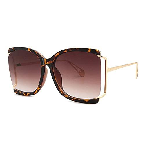 HAIGAFEW Gafas De Sol Cuadradas para Mujer Gafas De Sol para Mujer Tonos Púrpuras Gafas De Sol Punk De Gran Tendencia De Metal para Mujer Uv400 Proteger Los Ojos-Leopardo