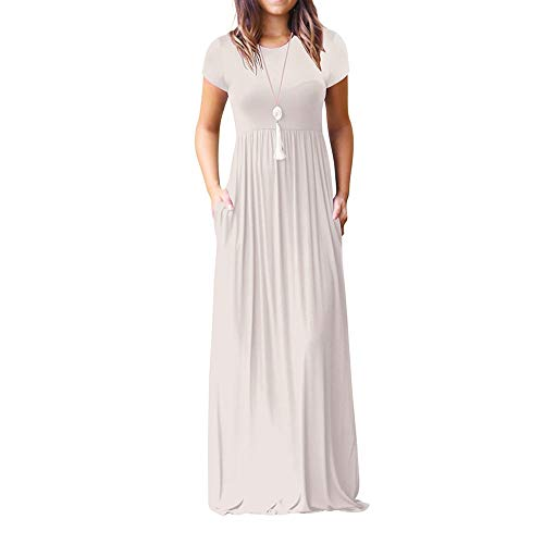 Adeliber Women's Short-Sleeved Dress O-Neck Casual Solid Color Pocket Long Dress Summer Loose Party Dress White