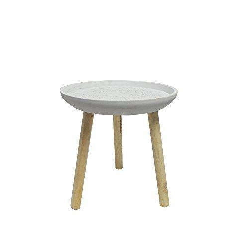 DRULINE bijzettafel, driepoot, houten tafel, salontafel, tafel met drie poten, nachtkastje wit/naturel.
