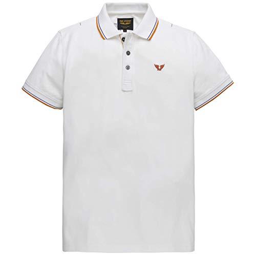PME Legend Poloshirt mit Kontraststreifen Weiss (7003 Bright White) XXL