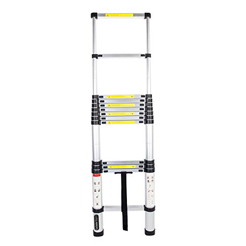 LUISLADDERS Aluminum Telescoping Telescopic Extension Ladder 330 Pound Capacity (12.5 Feet)