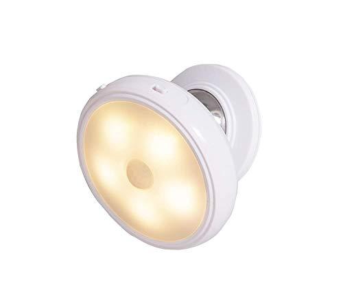 IdeaWorks JB8191 Easy Swivel Outdoor Indoor Motion Sensor Light Battery Operated-Peel and Stick Backing-Full 360-degree Rotation, White