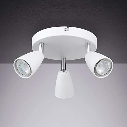 IMPTS LED Deckenleuchte Drehbar weiß, 3-Flammig Rund Spotbalken , LED Deckenlampe inkl.3x3W GU10 LED Leuchtmittel, 250LM IP20 Warmweiß, Deckenlampe Deckenspots für Küche, Wohnzimmer, Schlafzimmer