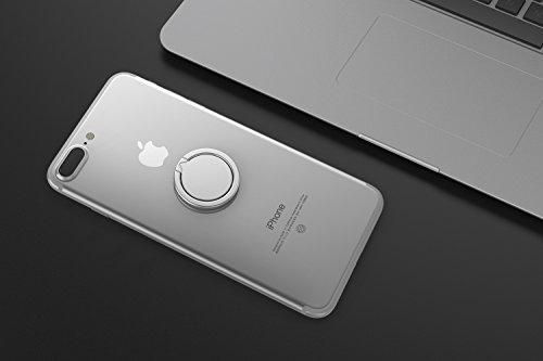 Kronya - 360 Grad drehbarer Smartphone Fingerhalter | Case Finger Griff Halter Halterung Handy Hülle Ring Ringhalter Ständer Tablet | Kompatibel mit Apple iPhone iPad Samsung Galaxy | 4 (Silber)
