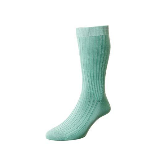 Pantherella Danvers Herren-Socken über der Wade, Baumwolle, gerippt, Minzgrün, Größe M