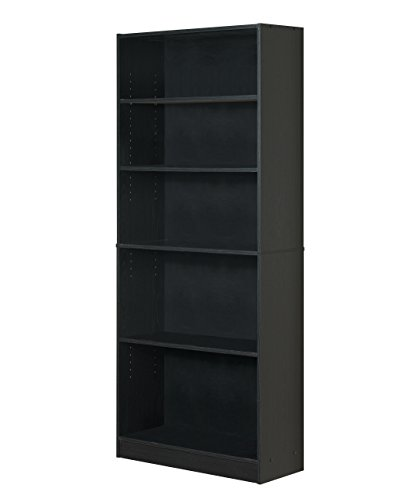 Mylex Three Shelf Bookcase; Two Adjustable Shelves; 9.5 x 24.5 x 35.5 Inches, Black, Assembly Required