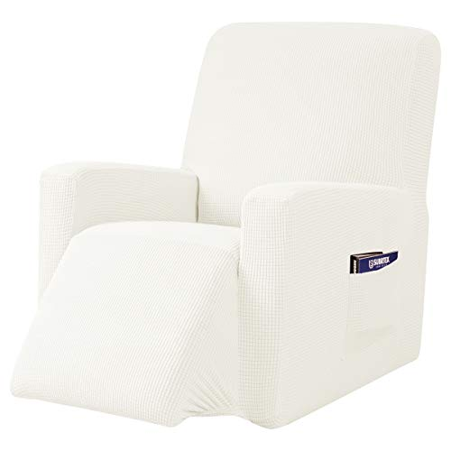 subrtex Recliner Chair Cover Stretch Recliner Slipcover Lazy Boy Covers for Furniture Protector Rocker Sofa Cover with Side Pocket (Recliner, Off-White) -  SBTZHS006