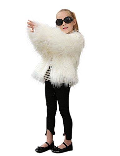 VLUNT Abrigo de Piel para Niños Chaqueta Pelo Chica Fur Coat Winter Ropa Invierno Niña Tops Mangas Largas Abrigo de Pelo Chica Tops Piel (Negro)