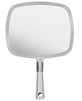 Mirrorvana Large & Comfy Hand Held Mirror with Handle - Silver Salon Model