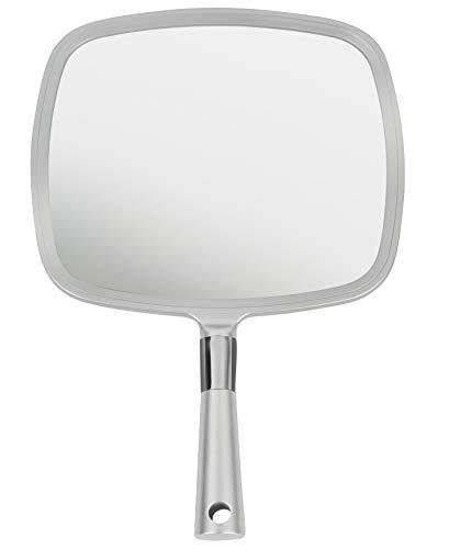 Mirrorvana - Espejo de mano grande y cómodo con asa, color plateado