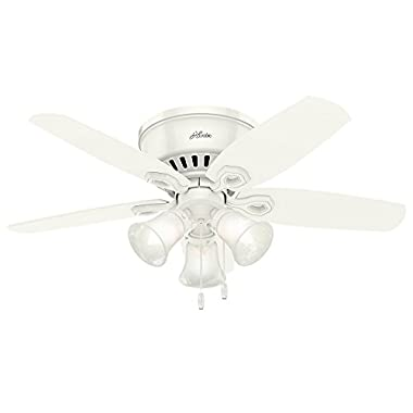 Hunter 51090 42  Builder Low Profile Ceiling Fan with Light, Snow White