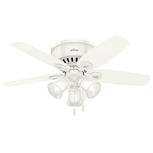 """Hunter Fan Company 51090 Hunter Builder Indoor Low Profile Ceiling Fan with LED Light and Pull Chain Control, 42"""", White"""