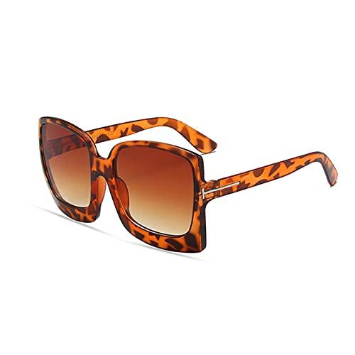 KAITUO Gafas de sol para mujer, de gran tamaño, clásicas, femeninas, con marco grande, degradado, UV400 (lenses color: marrón leopardo)