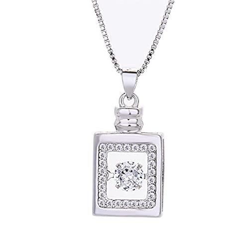 YQMJLF Collar Moda Accesorios Mujer Collares Colgante de Oro Rosa de Plata Diamante Collar Cuadrado Tridimensional Botella de Perfume Cadena de clavícula Femenina Mujer Joyas cumpleaños Regalo
