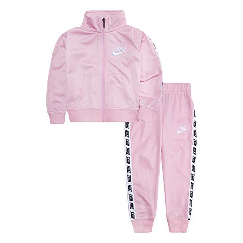 Nike Baby Girls Tricot Track Suit 2-Piece Outfit Set, Pink/White, 24M