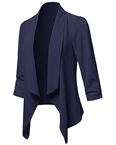 ZhuikunA Damen Elegant Blazer, 3/4 Ärmel, Reverskragen, Jäckchen Casual, Kurzblazer Jacke, Business Freizeit Party Marineblau L