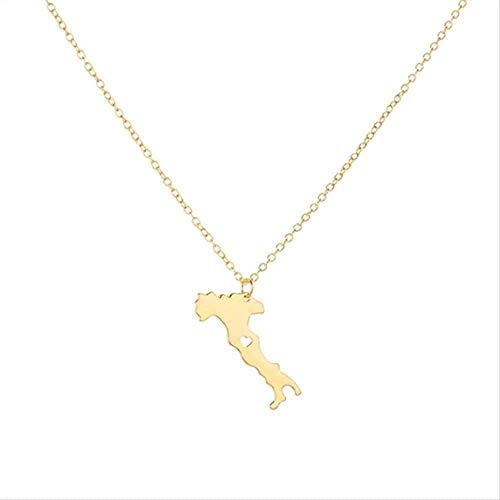 WYDSFWL Collar Tarjeta de Italia con corazón Collar Tarjeta de país de Italia Collar con Colgante Mapa de Italia Italiano Mapa Collar de joyería