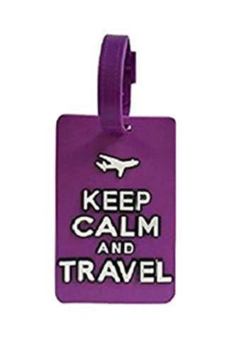 NOVAGO Etichetta per valigie, Etichetta da viaggio,etichetta del bagaglio Keep Calm -viola
