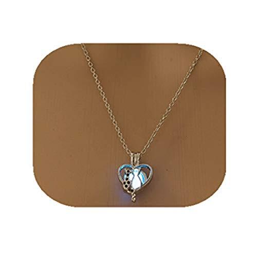 yichahu Collar que brilla en el collar de mascotas y gatos para mujer, collar de animales, colgante hueco con luz luminosa nocturna (azul)