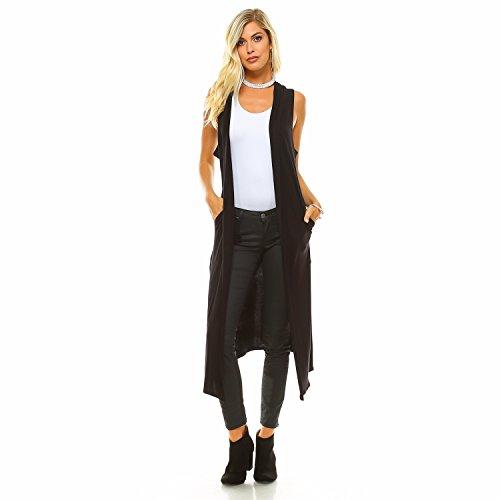 Isaac Liev Women's Long Cardigan – Casual Sleeveless Open Front Side Slit Pockets Flowy Lightweight Maxi Vest Duster 0008 Black 2XL