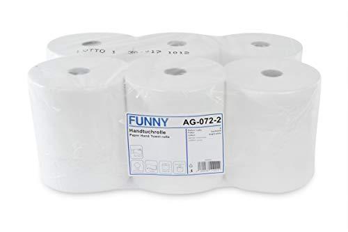Funny Handtuchrolle mit Spezialkern, für markenfreie Spendersysteme, 2 lagig hochweiß, 21 cm, 130 m, 4er Kern, 1er Pack (1 x 6 Stück)