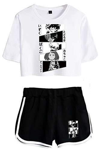 Boku no Hero Deku Bakugou - Conjunto de ropa deportiva de manga corta para mujer, estilo informal, My Hero Academia Todoroki Shouto Anime Pajama Hero Academia 02 S