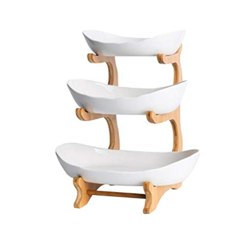 Aovie Large Fruit Basket 3-tier Fruit Cake Stand Porcelain Fruit Bowl with Bamboo Stand Snack Candy Plate Serving Fruit Trays for Cakes Dessert Snack Fruit Plate Living Room Decoration