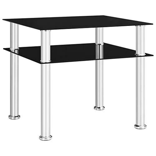 Preisvergleich Produktbild vidaXL Beistelltisch mit 1 Ablage Couchtisch Wohnzimmertisch Kaffeetisch Wohnzimmermöbel Tisch Sofatisch Teetisch Schwarz 45x50x45 cm Hartglas