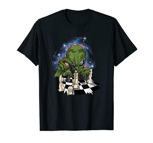 Alien verde con tablero y piezas de ajedrez - Ajedrez Camiseta