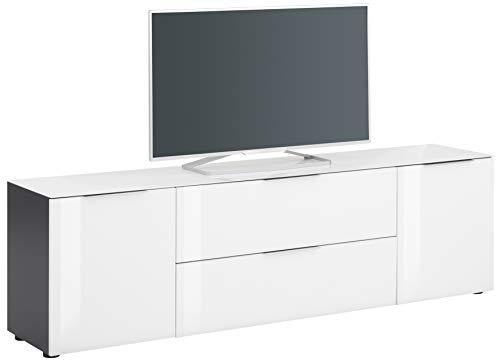 MAJA Möbel Trend Lowboard, Holzwerkstoff melaminharzbeschichtet, anthrazit - Weißglas, 180,4 x 53,9 x 40,0 cm
