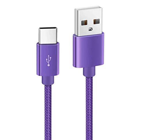 Kit Me Out Cable USB Tipo C para Honor Magic 2 3D [2M] 2 Metro 3A Cargador USB Tipo C Nylon Trenzado Cable USB C Carga Rápida y Sincronización de Datos - Morado