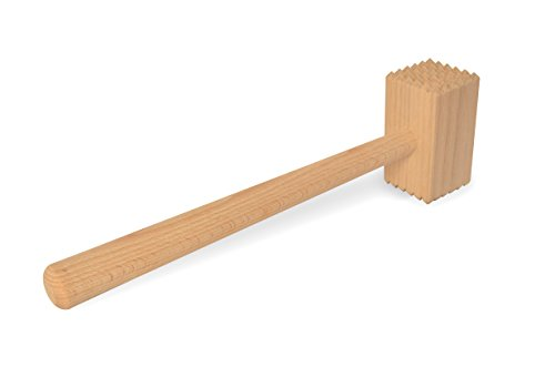 * Fleischhammer aus Holz mit starkem beidseitigen Profil | Holzhammer Fleischklopfer für zartes Schnitzel | 28 cm