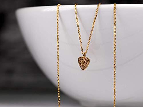 Herz-Kette Gold, Sterlingsilber vergoldet, zierliches Herzchen, Glückbringer, Talisman, 45 cm, Geschenk für Sie