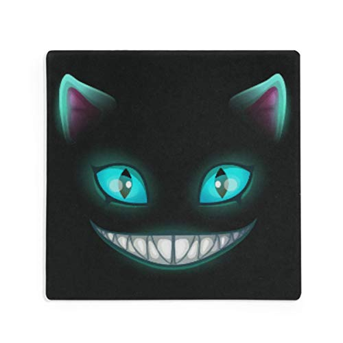 Olinyou Fantasy Scary Smiling Cat Face On Black Cheshire Halloween Coasters for Drinks Set of 2 Absorbent Ceramic Stone Square Coaster with Cork Base