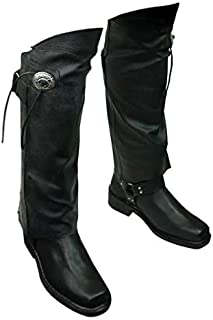 Leather MOTORCYCLE Half CHAPS Short Gaiter Leg Warmers Leggins NEW Gauchos YKK - WITH Concho & Fringe (Medium to Large)