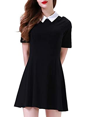 Aphratti Women's Short Sleeve Casual Peter Pan Collar Flare Dress Black Small