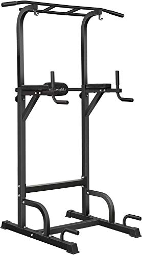 BangTong&Li Power Tower Workout Pull Up & Dip Station Adjustable Multi-Function Home Gym Fitness Equipment (Black)