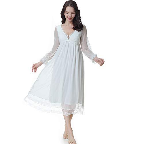 Flwydran Damen Nachthemd,V-Ausschnitt Dessous, Nacht Lange Ärmel Modal Baumwolle mit Spitze Dekoration Nachtkleid Viktorianischer Stil Nachtwäsche