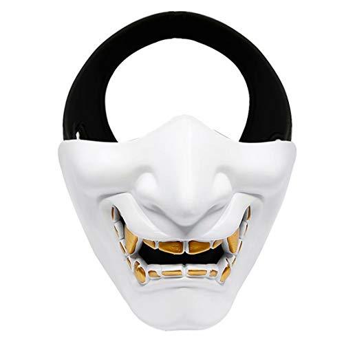 Japanse Prajna Mask, Airsoft Half Gezicht Masker, BB Boze Demon Monster Kabuki Samurai Hannya Oni Half Gezicht Cosplay Masker Eén maat Kleur: wit