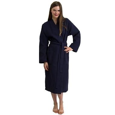 TowelSelections Turkish Bathrobe Waffle Kimono Robe for Women and Men Medium/Large Navy