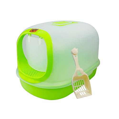 Caja de Arena para Gato Todo Cerrado con Cuchara Encantador Aseo Gatitos Antiolor Ecológico Abertura Frontal Fácil de Limpiar WC Inodoro,Green