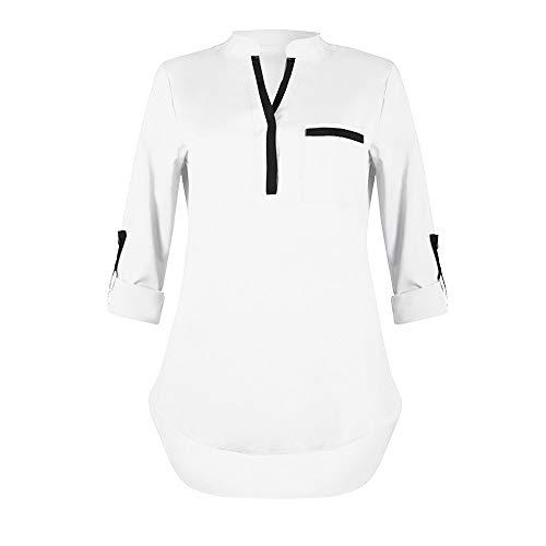 Heiß Herbst Shirt Damen Hevoiok Sexy T-Shirt Langarmshirt Mode V-Ausschnitt Tasche Blusentop Oberteile Langarm Top Bluse locker Tunika Sweatshirt (Weiß, S)
