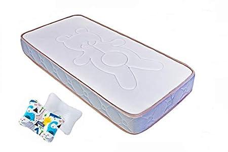 Fam Baby Colchón de cuna para Bebé Respiral Antiasfixia 117 * 57 Doble cara Verano e Invierno, Transpirable y Confortable, GRATIS Almohada Baby, modelo 2020-2021